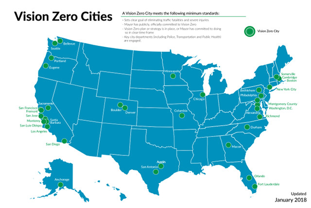 A Map of Vision Zero Cities in the US